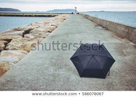 Esernyő út út fiatal srác áll csúcs Stock fotó © psychoshadow