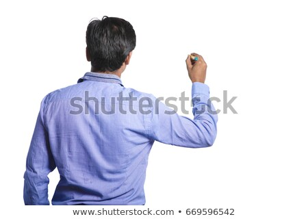 Asian businessman hand pointing on transparent glass Stock photo © szefei