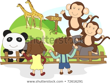 Happy children at the zoo sign Stock photo © bluering