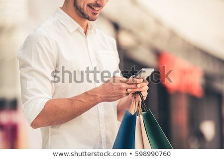 Stock fotó: Férfi · pláza · hordoz · szatyrok · boldog · vásárlás
