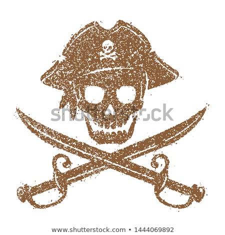 Pirata crânio perigo tatuagem tshirt Foto stock © ayaxmr