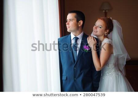 mooie · europese · paar · hotelkamer · bruid - stockfoto © tekso