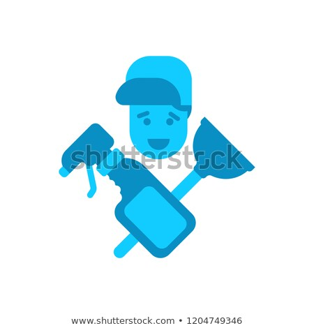 Cleaning service logo. rubber plunger and cleaning agent. cleanu Stock photo © MaryValery