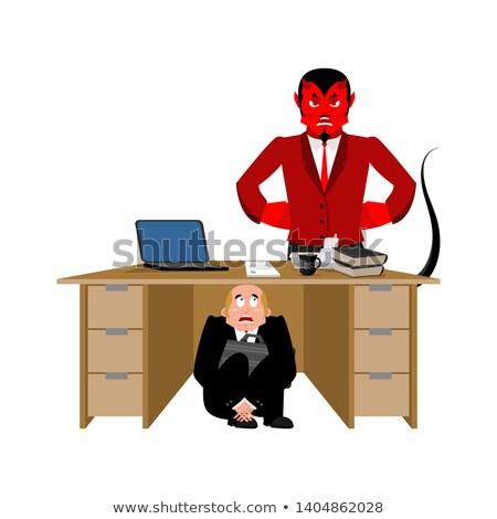 бизнесмен страшно таблице сатана испуганный деловой человек Сток-фото © popaukropa