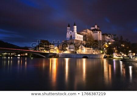 Kerk water Blauw reizen nacht skyline Stockfoto © benkrut