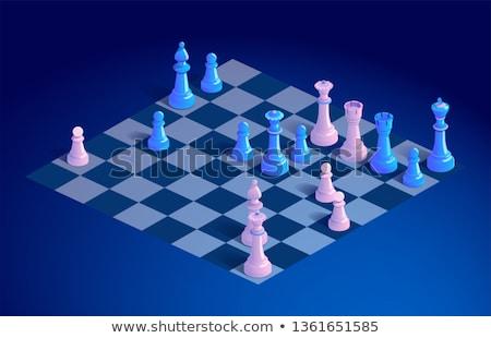 White knight chess piece isometric, vector illustration. Stock photo © kup1984
