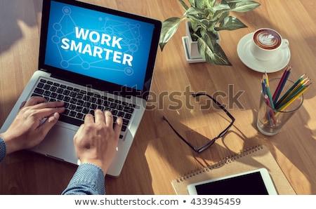 ストックフォト: 作業 · 手描き · 緑 · 黒板 · 現代 · オフィス