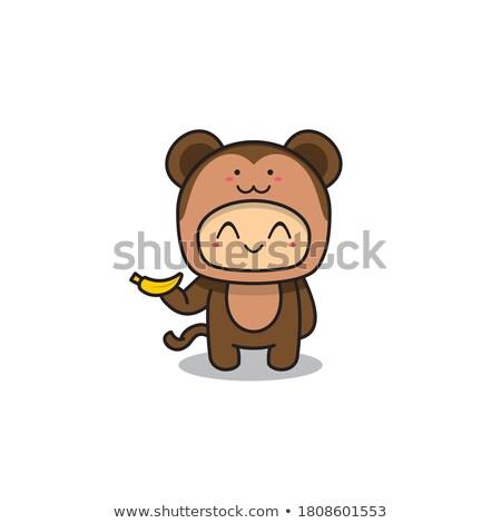 Little boy with cute chimpanzee Stock photo © bluering