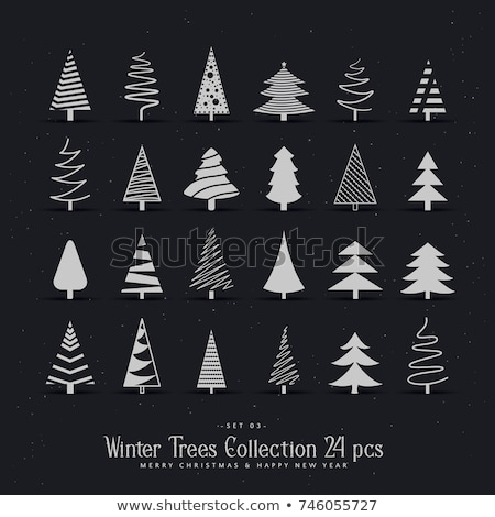 Stock photo: 20 different christmas tree design set