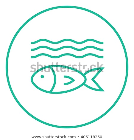 Fish under water line icon. Stock photo © RAStudio
