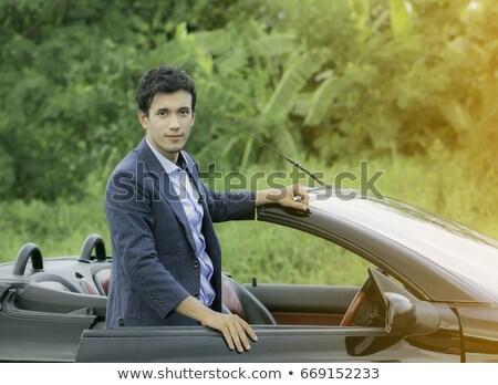 Portret knap rijke man rijden auto Stockfoto © majdansky