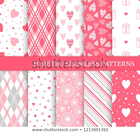 Geometric heart vector seamless pattern, Valentine's Day red hearts on white background Stock photo © RedKoala