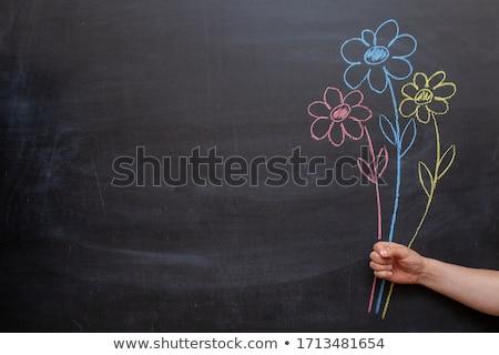Gyerek lány tart kréta ír illusztráció Stock fotó © lenm