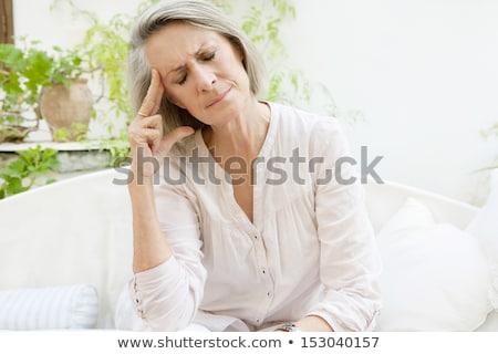 Deprimido altos mujer aire libre pensando preocupado Foto stock © manaemedia