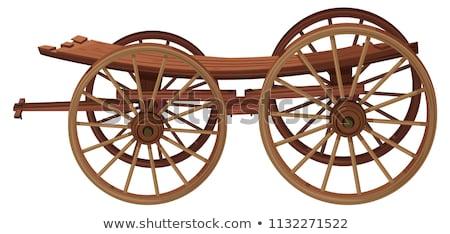 Schlitten Transport Menschen isoliert weiß Pferd Stock foto © konturvid