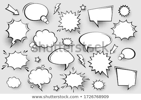 kommunikáció · fekete · szövegbuborékok · szett · formák · buborékok - stock fotó © blumer1979