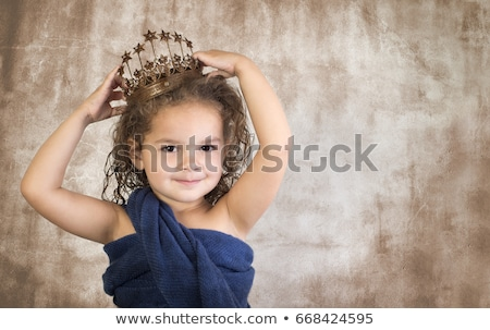 Three girls wearing dresses, one in a crown Stock photo © IS2