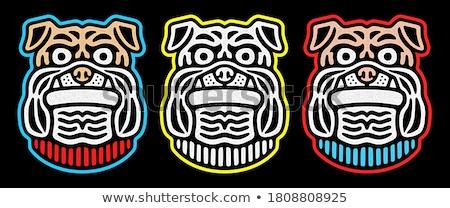 angry bulldog dog cartoon mascot character monochrome color stock photo © hittoon