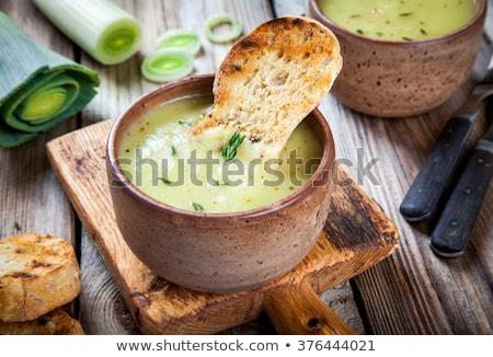 Bowl Of Organic Broccoli And Leek Soup Stock photo © mpessaris