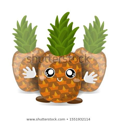 Feliz pina frutas verde mascota de la historieta carácter Foto stock © hittoon
