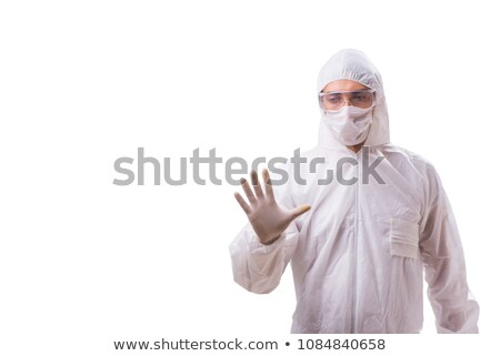 forensic specialist in protective suit isolated on white stock photo © elnur