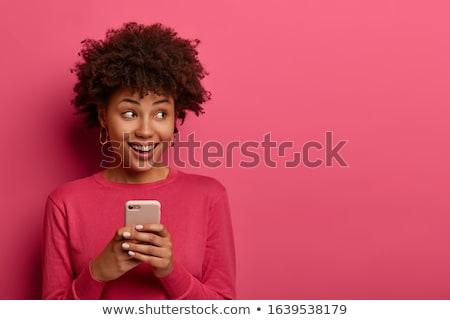 Lányok néz szöveges üzenet főiskola mosolyog barátság Stock fotó © IS2