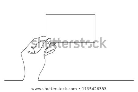 hand · visitekaartje · blanco · papier · geïsoleerd - stockfoto © nobilior