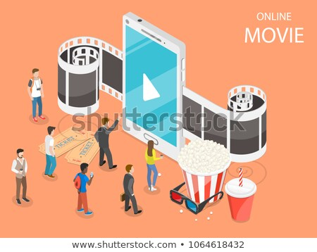 Mobil film izometrikus vektor pár néz Stock fotó © TarikVision