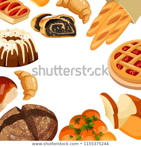 Vector square bakery frame. Baked bread products wheat, rye bread loafs, bagels, sliced bread toasts Stock photo © MarySan