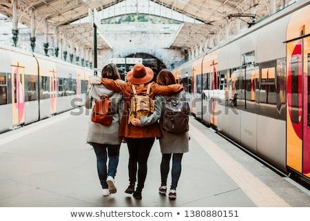 Trem trio Portugal pôr do sol cidade Foto stock © joyr