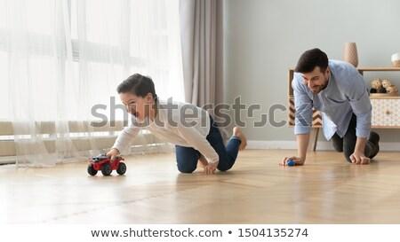 juguete · coche · sonriendo · ninos - foto stock © monkey_business