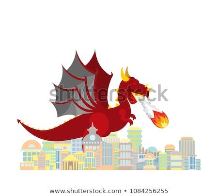 Сток-фото: дракон · город · красный · большой · мифический · монстр
