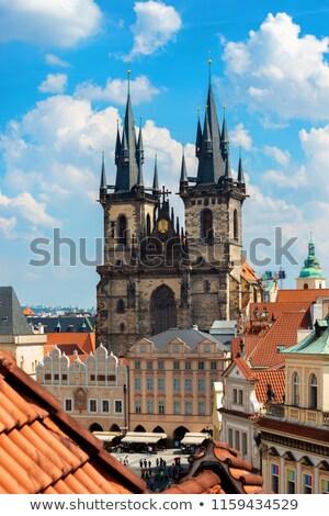 Katedral görmek kırmızı karo çatılar Prag Stok fotoğraf © Givaga