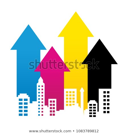 CMYK Cityscape Property Rise Up Arrow Lines Graphic Design Scene stock photo © smith1979