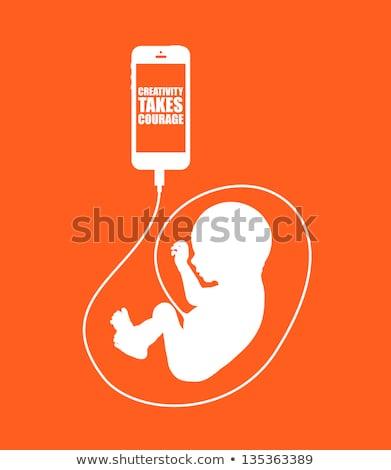 Afbeelding pasgeboren baby mobiele mobiele telefoon Stockfoto © Giulio_Fornasar