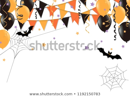 halloween bunting flags with banner and balloons stock photo © barbaliss