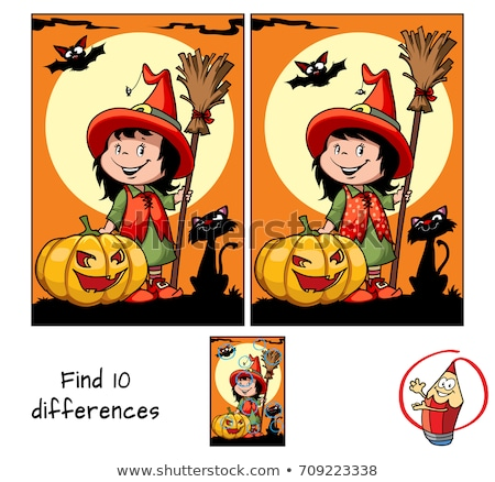 differences game with Halloween characters Stock photo © izakowski