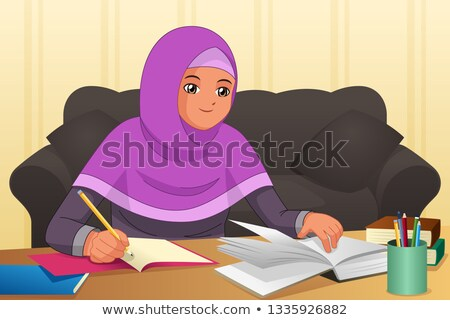 Muslim Girl Doing Homework At Home Illustration Stockfoto © Artisticco