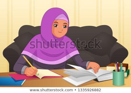 Muszlim lány házi feladat otthon illusztráció nő Stock fotó © artisticco