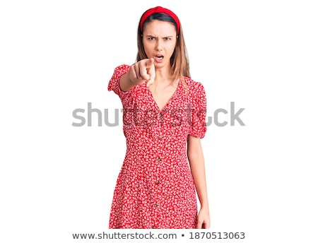 Portrait of a furious young girl in summer dress yelling Stock photo © deandrobot