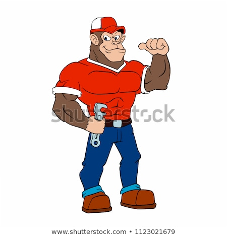 Stock fotó: Rajz · mérges · építőmunkás · majom · néz · grafikus