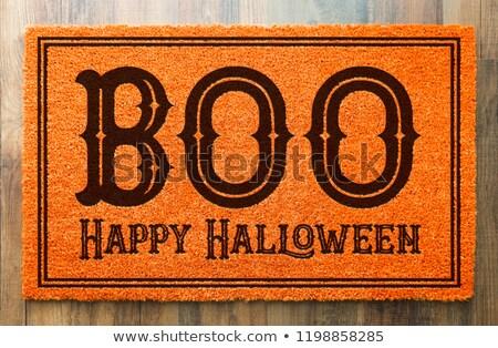 Feliz halloween laranja bem-vindo piso de madeira casa Foto stock © feverpitch