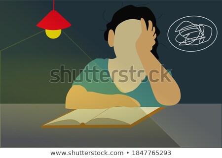 Cartoon · девушки · исчерпанный · иллюстрация · работает · глядя - Сток-фото © pikepicture