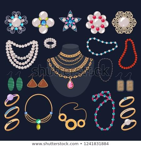 Luxe or collier boucles d'oreilles anneau Photo stock © robuart