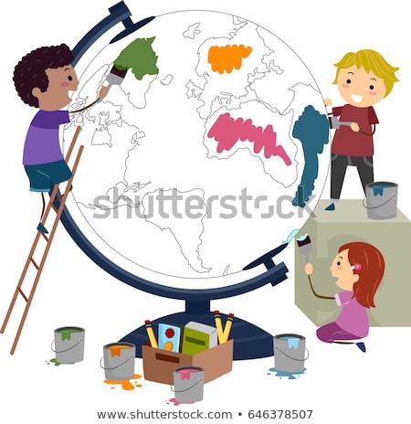 Stickman Kids Paint Globe Illustration Stock photo © lenm