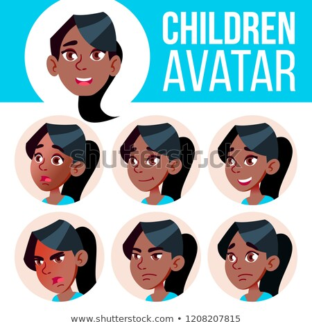 Girl Avatar Set Kid Vector. Black. Afro American. High School. Face Emotions. Flat, Portrait. Cute,  Stock photo © pikepicture