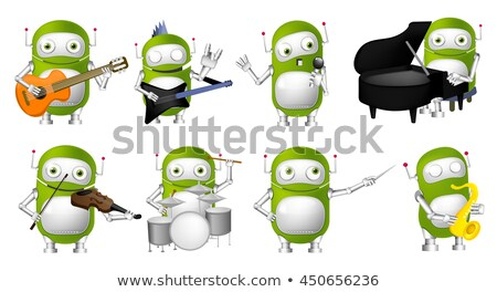 robot musician playing guitar and singing into microphone vector isolated illustration stock photo © pikepicture