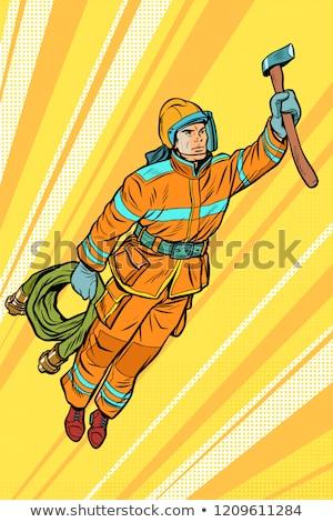 消防 消防士 飛行 スーパーヒーロー ヘルプ ポップアート ストックフォト © studiostoks