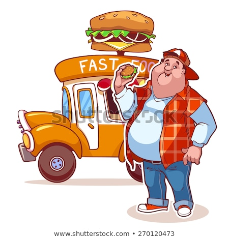 éhes rajz teherautó illusztráció néz kék Stock fotó © cthoman