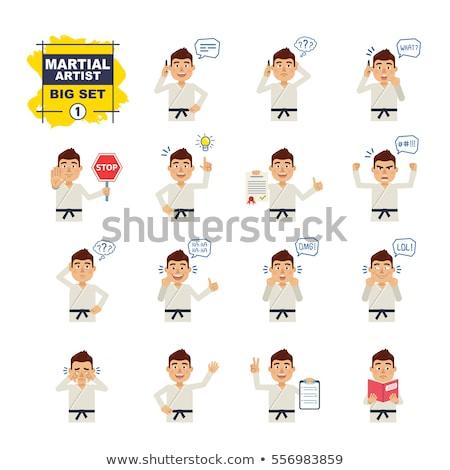 Desenho animado zangado karatê homem olhando Foto stock © cthoman